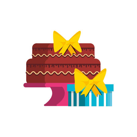 sweet cake of birthday with gift box vector illustration design Illusztráció