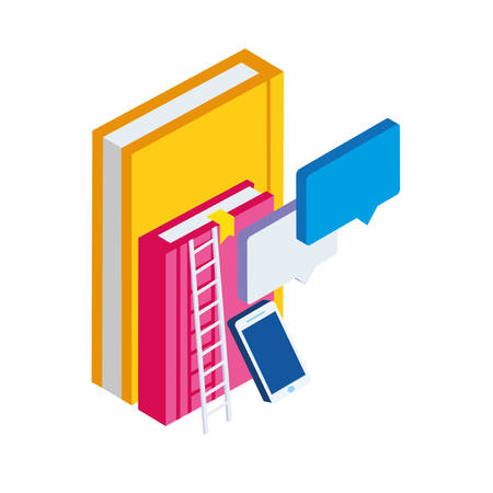 pile text books with smartphone vector illustration design Zdjęcie Seryjne - 122532772