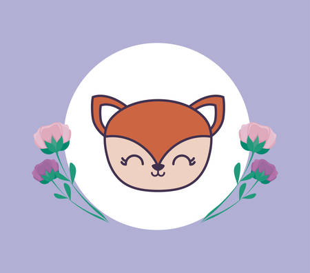 head of cute fox in frame circular with flowers vector illustration design