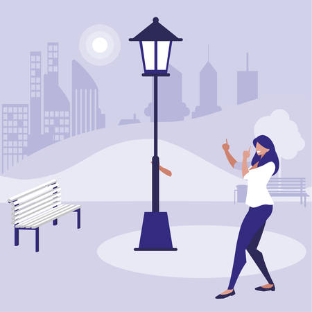 young woman dancing in the park character vector illustration design  イラスト・ベクター素材