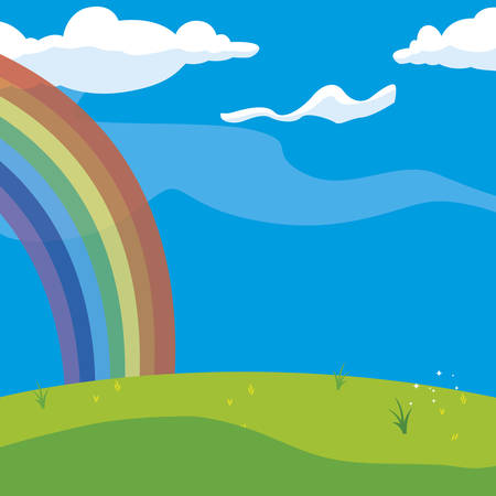 rainbow and clouds in the landscape vector illustration design