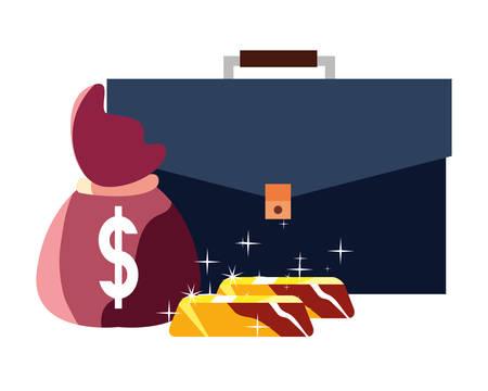 business suitcase money bag gold bars vector illustration