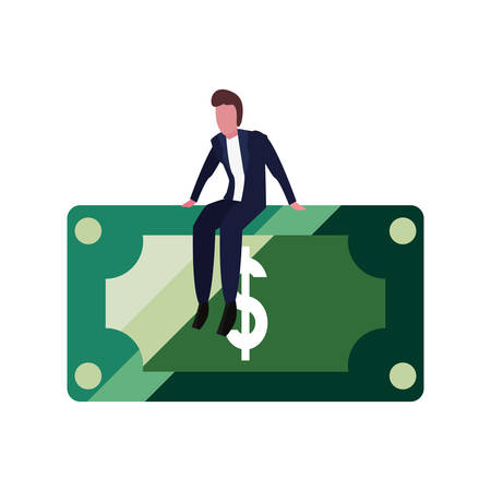 businessman sitting on banknote on white background vector illustration