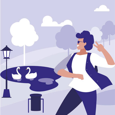 young dancer with sunglasses in the park vector illustration design Illustration