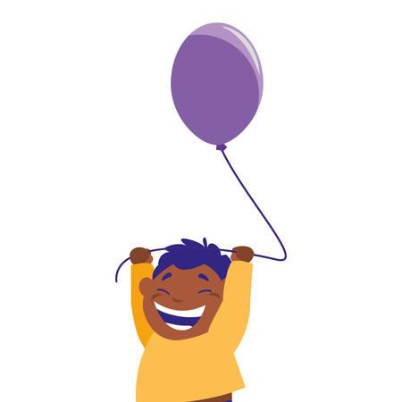 smiling boy holding balloon white background vector illustration