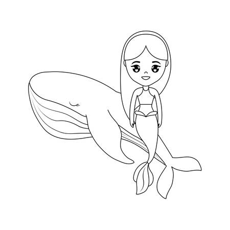 cute mermaid sitting in whale vector illustration design Illustration
