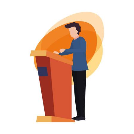 mężczyzna stojący na stoisku ilustracji wektorowych