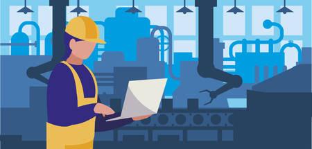 worker in factory workplace vector illustration design Çizim