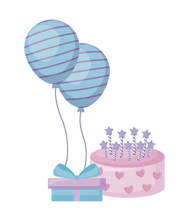 sweet cake with gift box and balloons helium vector illustration design Stock Illustratie