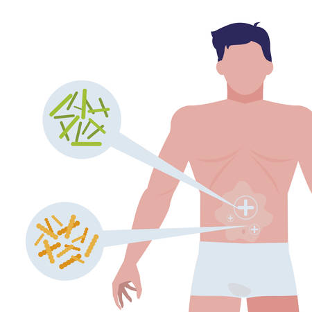 body man with bacterias infographics character vector illustration design Archivio Fotografico - 122011590