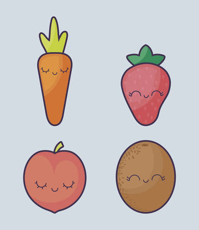 strawberry with set fruits kawaii character vector illustration design