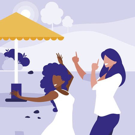 young interracial girls dancing in the park vector illustration design