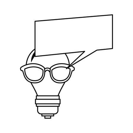bulb light with eyeglasses speech bubble vector illustration