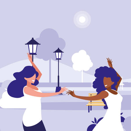 young interracial girls dancing in the park vector illustration design Vectores