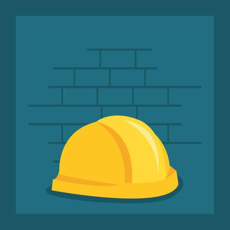 helmet icon tool wall brick vector illustration design