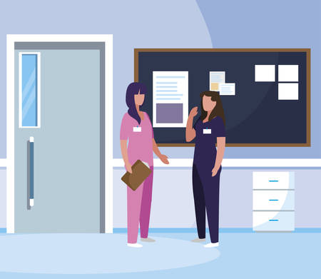 female medicine workers in hospital corridor vector illustration design