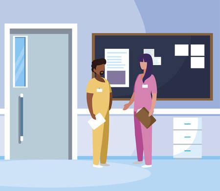 interracial couple medicine workers in hospital corridor vector illustration design