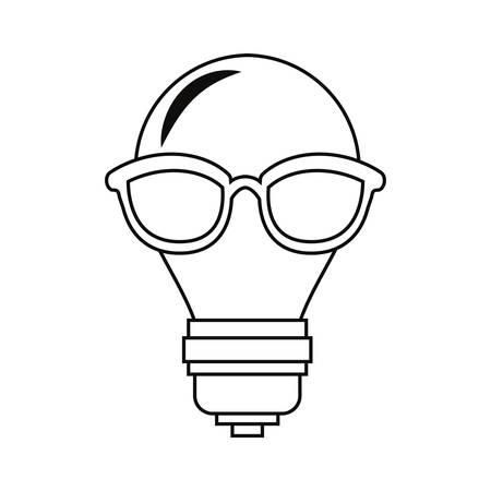 bulb light with eyeglasses creativity vector illustration Ilustração