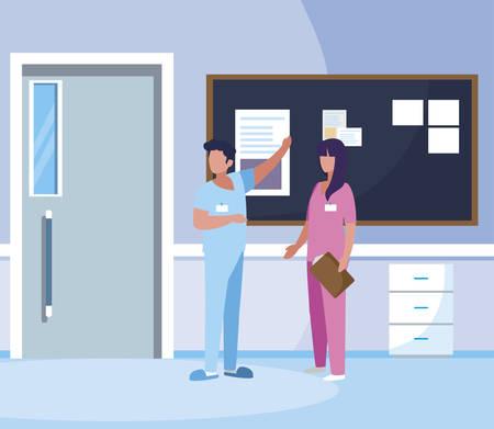 couple medicine workers with uniform in hospital corridor vector illustration design Illustration
