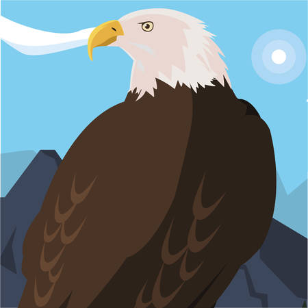 beautiful bald eagle animal in landscape vector illustration design Vectores