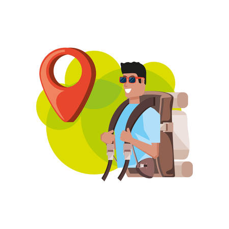 traveler man with travel bag and pin pointer location vector illustration design