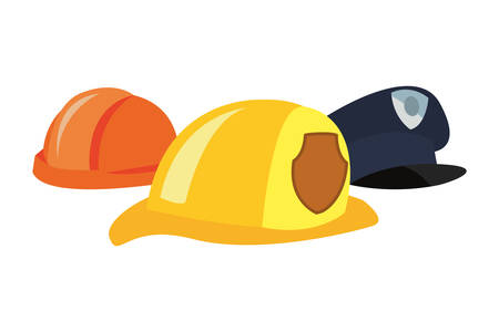 hats fireman police and construction labour day vector illustration