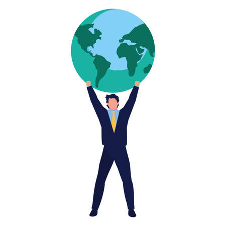 successful businessman world business vector illustration design