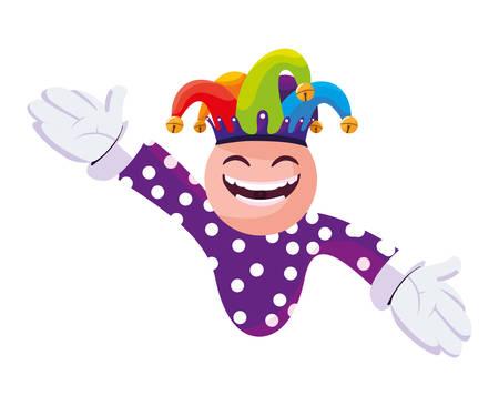 crazy emoticon with joker hat vector illustration design