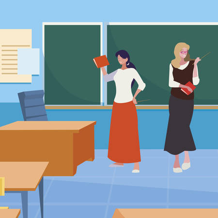 female teachers couple with in the classroom vector illustration design Zdjęcie Seryjne - 122454121