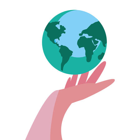 hand with world planet design vector illustration Banque d'images - 122454138