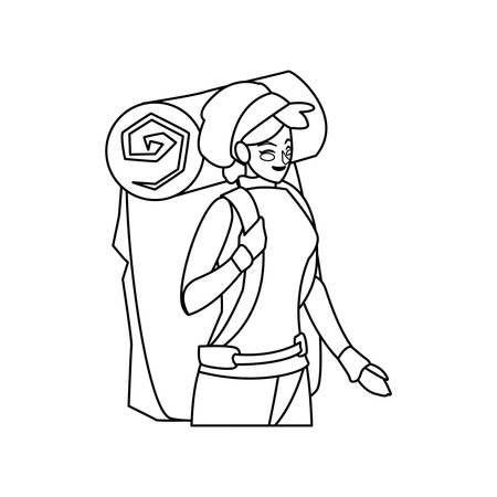 adventurous woman with travelbag vector illustration design Stock fotó - 122454160