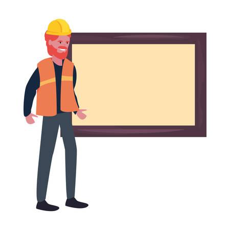 construction worker board vector illustration design image Illustration