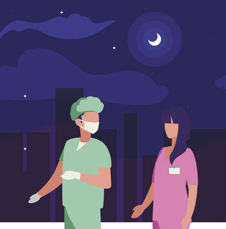 couple of professional workers on the night vector illustration design