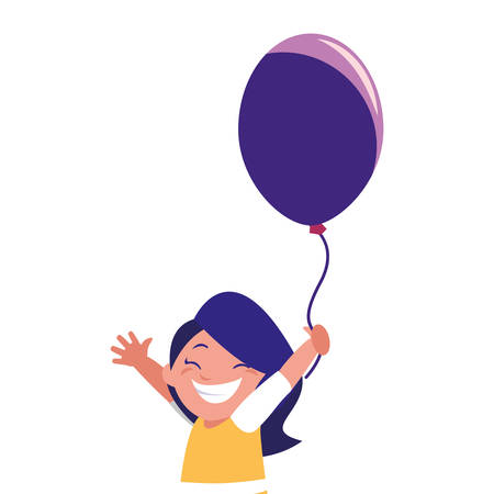 happy girl holding balloon white background vector illustration