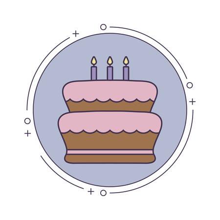 cake of birthday in frame circular vector illustration design