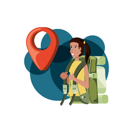 traveler woman with travel bag and pin location vector illustration design Stock Illustratie