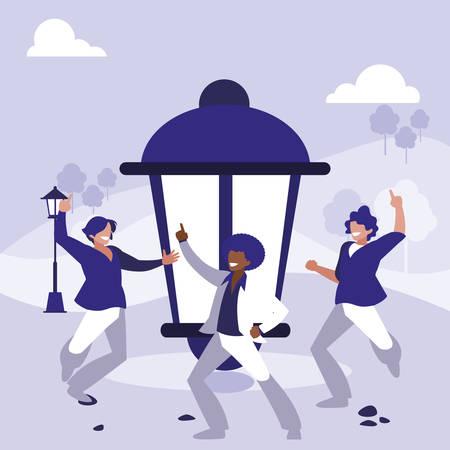 interracial dancers group dancing in the park vector illustration design Ilustração Vetorial