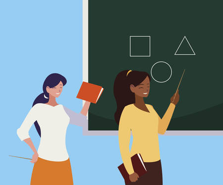interracial female teachers couple with textbooks and chalkboard vector illustration