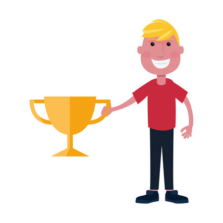 smiling boy with trophy award vector illustration