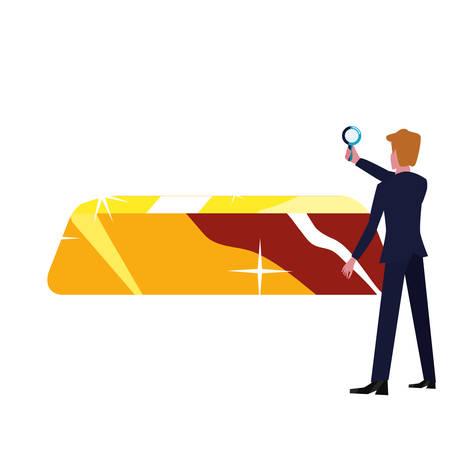 businessman with magnifier gold bar vector illustration Illustration
