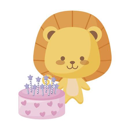cute lion animal with cake birthday vector illustration design