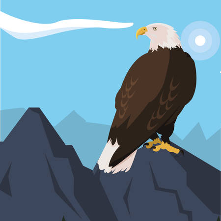 beautiful bald eagle animal in snowscape vector illustration design 版權商用圖片 - 122454532