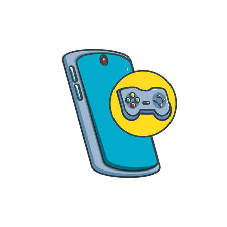 smartphone device with control game vector illustration design