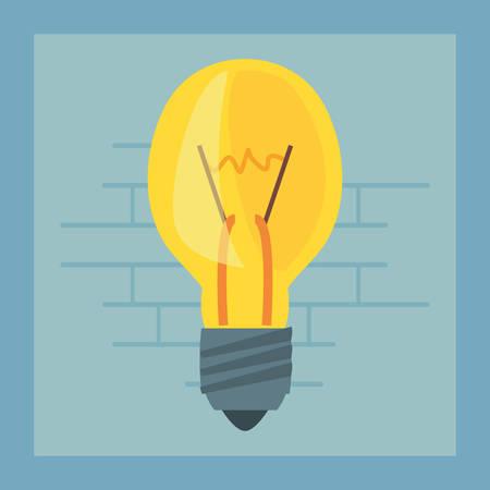 light bulb tool wall brick vector illustration design Ilustração