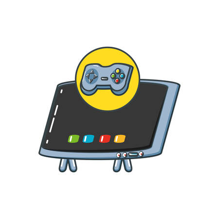 tv portable with control game vector illustration design Banco de Imagens - 122454632