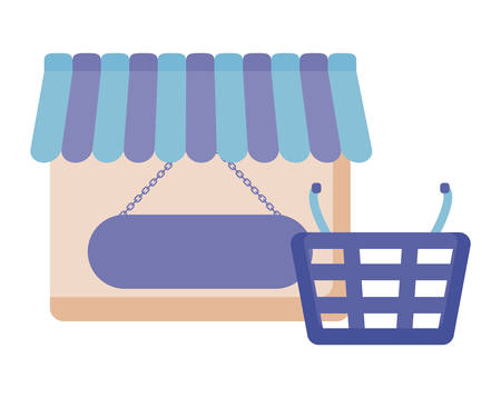 store facade with basket shopping isolated icon vector illustration design