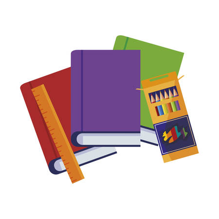 pile text books with rule and colors pencils box vector illustration design Ilustracja