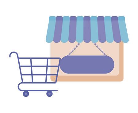 Fachada de la tienda con carrito de compras, diseño de ilustraciones vectoriales