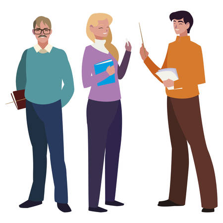 Lehrer Gruppe Avatare Charaktere Vektor Illustration Design