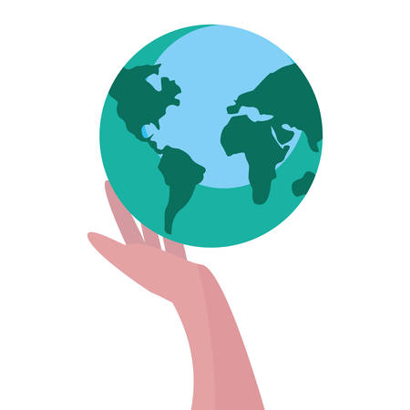 hand with world happy earth day vector illustration Stock Illustratie